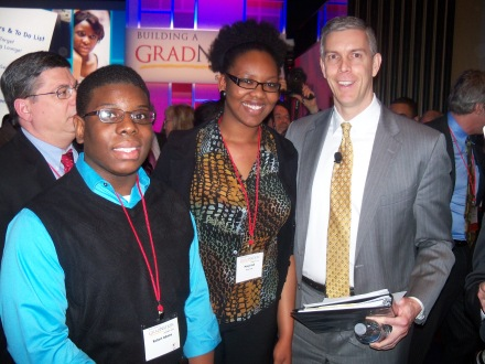 Maija and Robert with Secretary of Education Arne Duncan